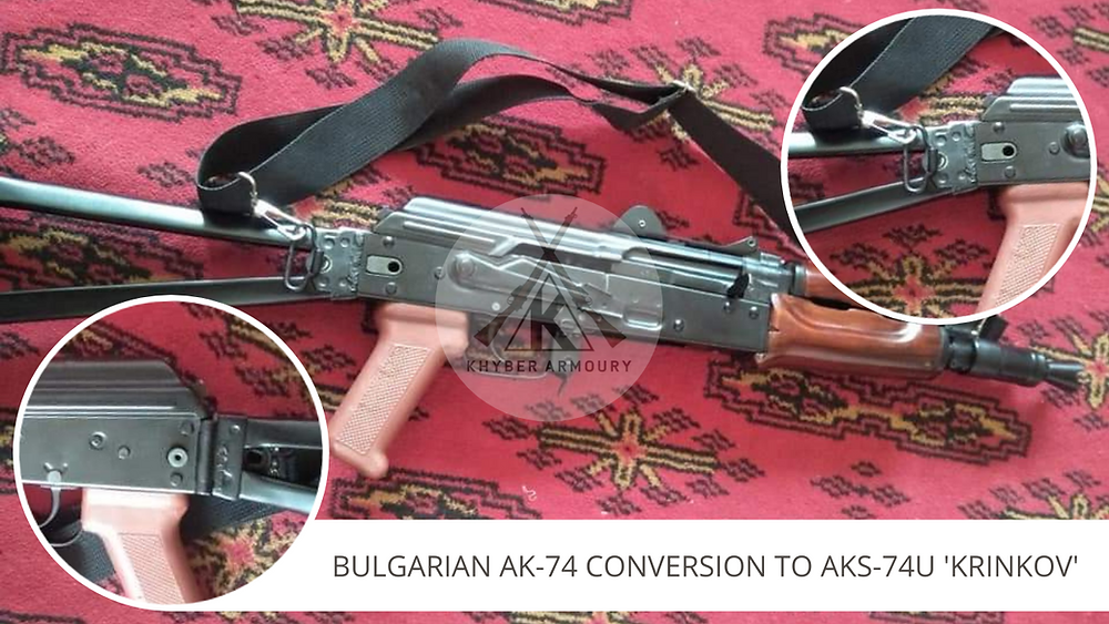 Fig.2.8.  Bulgarian AK-74 pattern rifle converted to an AKS-74U using local side-folding buttstock and mechanism (Source: Khyber Armoury Database)