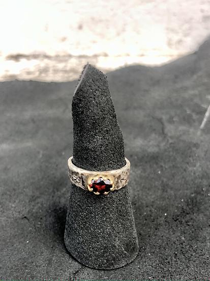 Deep Red Stone Garnet Ring