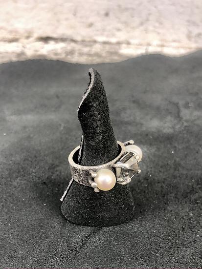 Moissanite & Pearl Ring