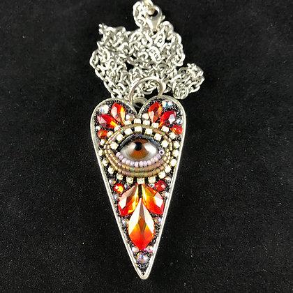 Large Eye Heart Pendant