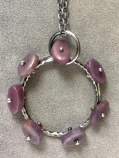 Raw Ruby & Sterling Wheel Pendant
