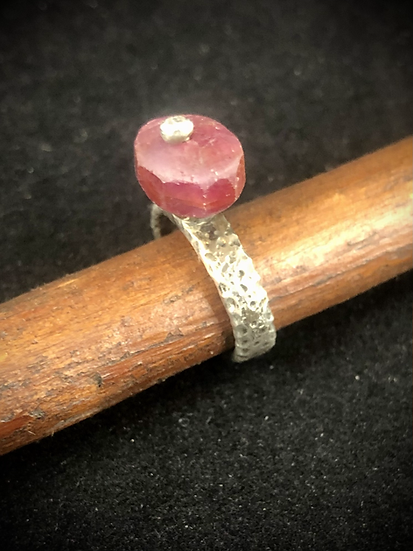 Raw Ruby & Hammered Sterling Ring