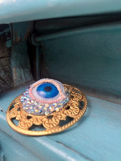 Retro Glass Eye Brooch