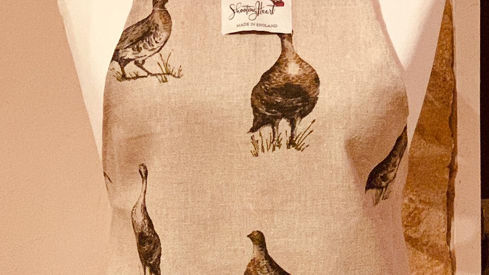 Game birds linen apron (no pocket)