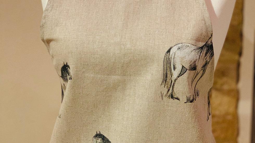 Tradional ponies linen apron