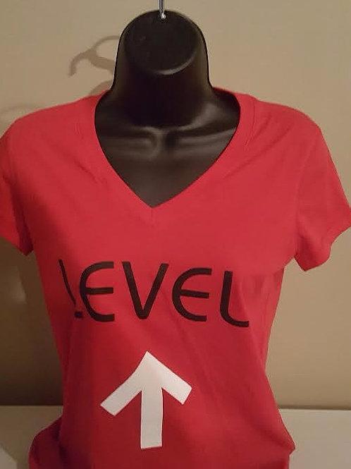 Level UP (red v-neck)