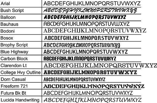 American Sign Depot | Sample Fonts