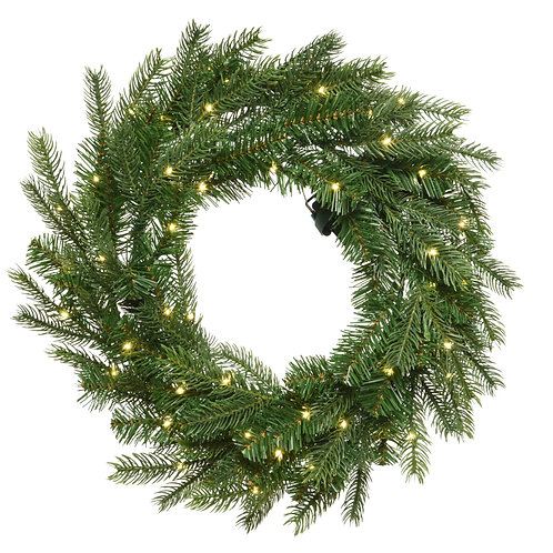 """48"""" Grandis Wreath with 8 Function Warm White LED Lights"""