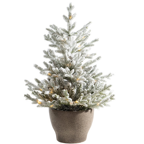 """48"""" Norway Flocked Pine Tree with Warm White Lights"""