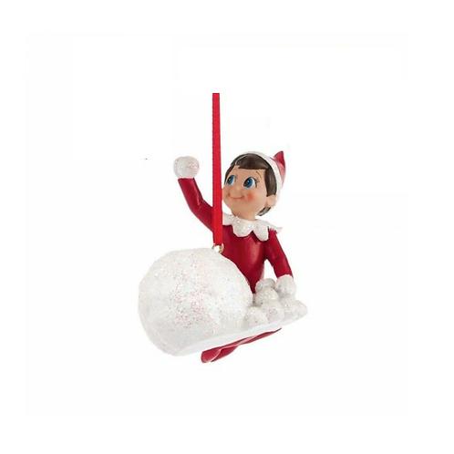 Elf on the Shelf: Throwing Snowballs Ornament