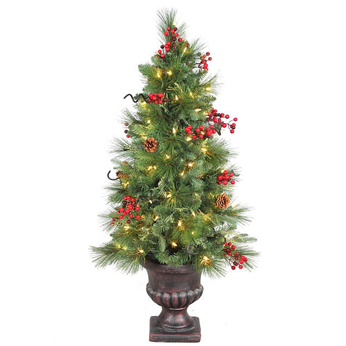 4' Potted Christmas Tree with Clear Lights