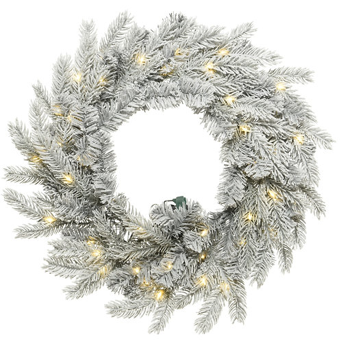 "32"" Snowy Grandis Wreath with 8 Function Warm White LED Lights"