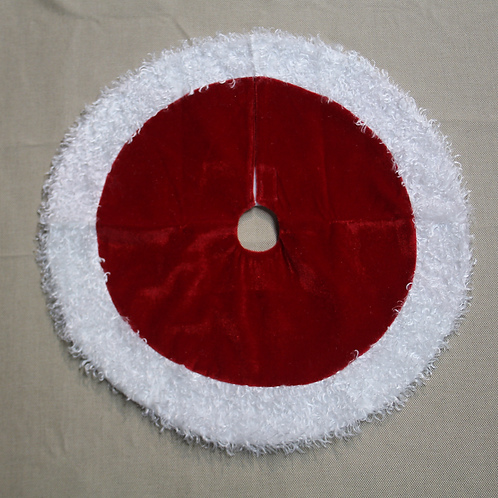 """18"""" Red Mini Tree Skirt with Border"""
