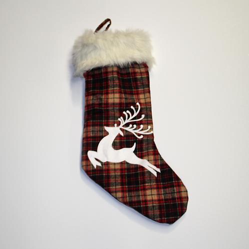 Plaid Reindeer Stocking