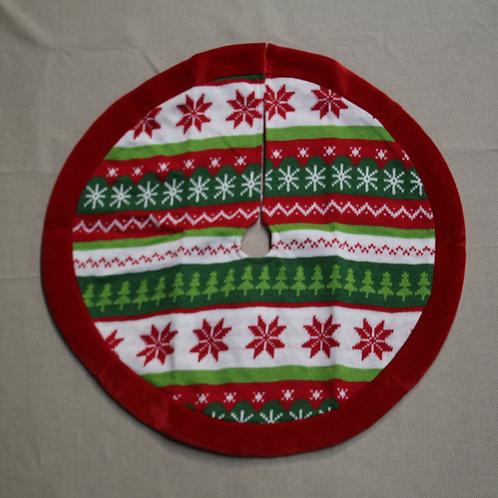 "19"" Knit Mini Tree Skirt with Velvet Trim"