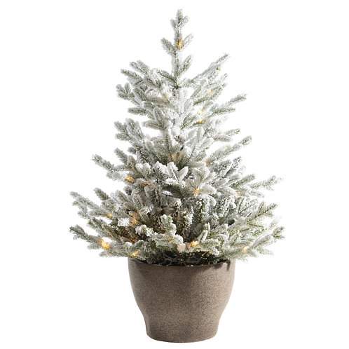 """36"""" Norway Flocked Pine Tree with Warm White Lights"""