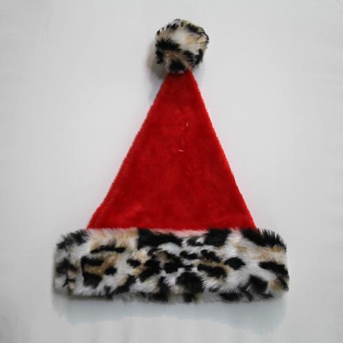 Plush Hat with Leopard Trim