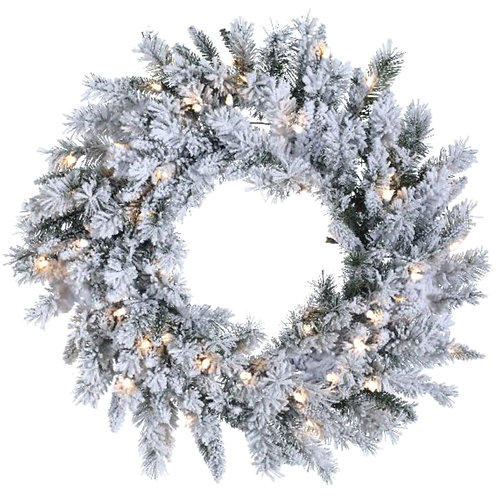 """30"""" Flocked Balsam Wreath with Clear Lights"""
