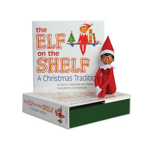 Elf on the Shelf Boy with Dark Skin and Book