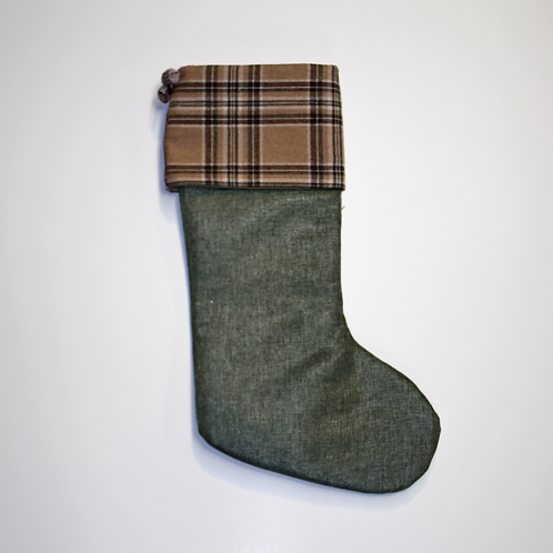 Green Wool Stocking with Plaid Cuff