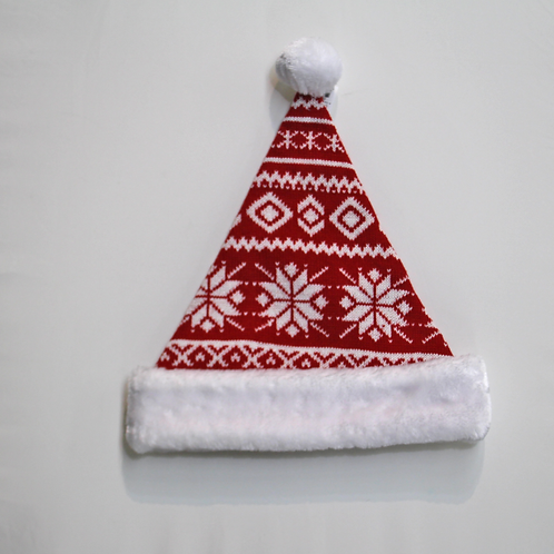 Red and White Knit Santa Hat