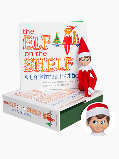Elf on the Shelf Boy with Light Skin and Book