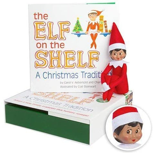 Elf on the Shelf Girl with Dark Skin and Book