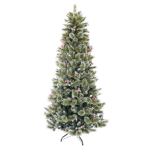 7.5' Winter Spruce Tree with Warm White LED Lights