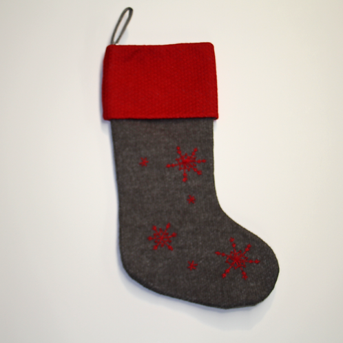 Red and Grey Wool Snowflake Stocking