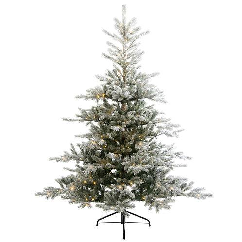 9' Snowy Grandis Fir Tree with Warm White Lights