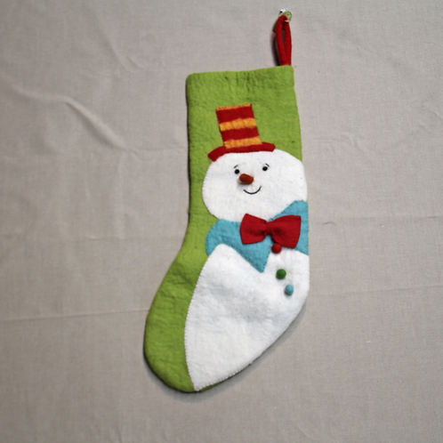 Striped Hat Snowman Stocking