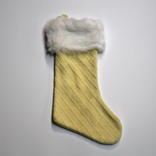 Cable Knit with Fur Cuff Stocking