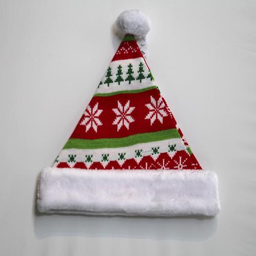 Red and Green Knit Santa Hat