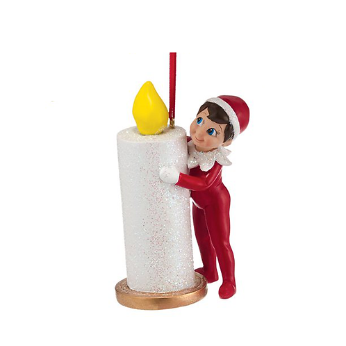 Elf Hiding Behind Candle Ornament
