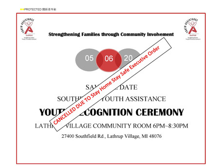 YOUTH RECOGNITION CEREMONY                  CANCELLED