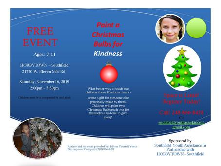Christmas Bulbs for Kindness Saturday November 16th