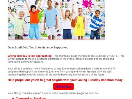SYA Giving Tuesday! November 27th