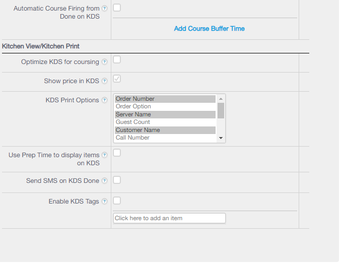 Backend KDS Settings