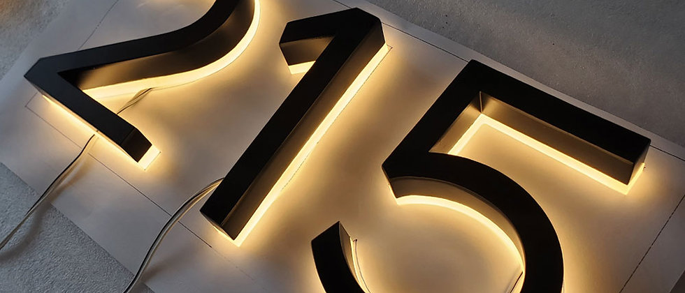 warm-lighted led numbers/alphabets channel letter door number telephone number