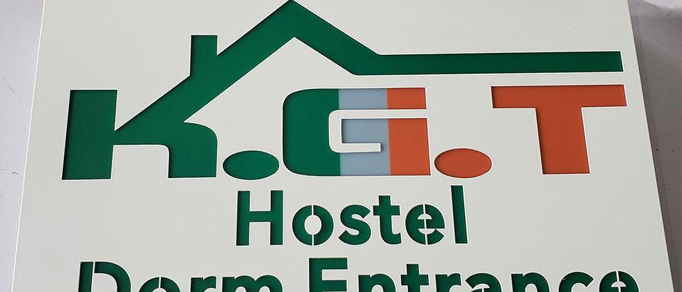 hollow acrylic hostel wayfinding led sign light box exterior built up