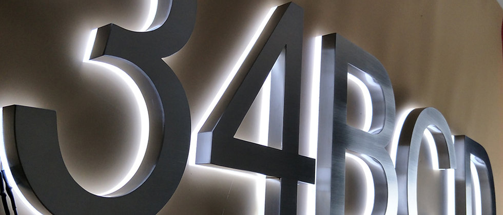 3d illuminated letters brushed face metal backlit outdoor digital house numbers