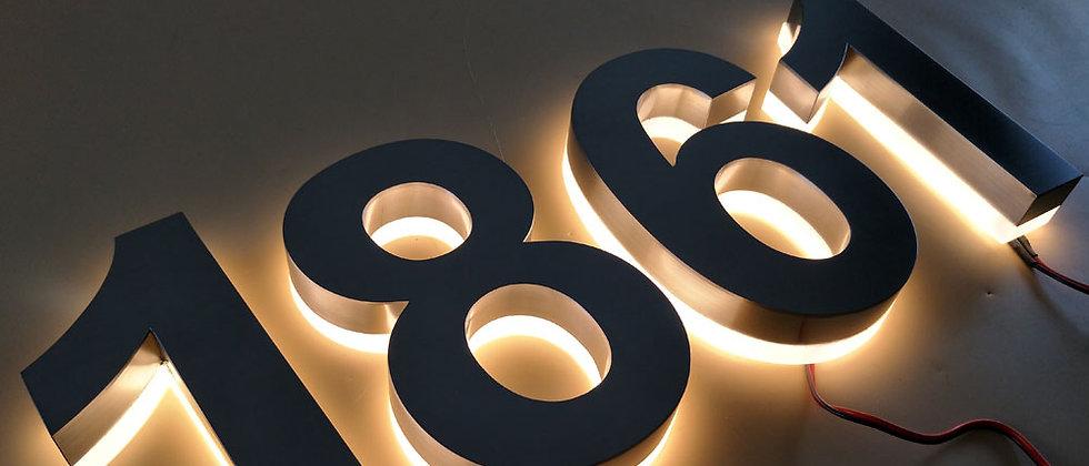 warm light brushed house number backlit letters sus acrylic backside door number
