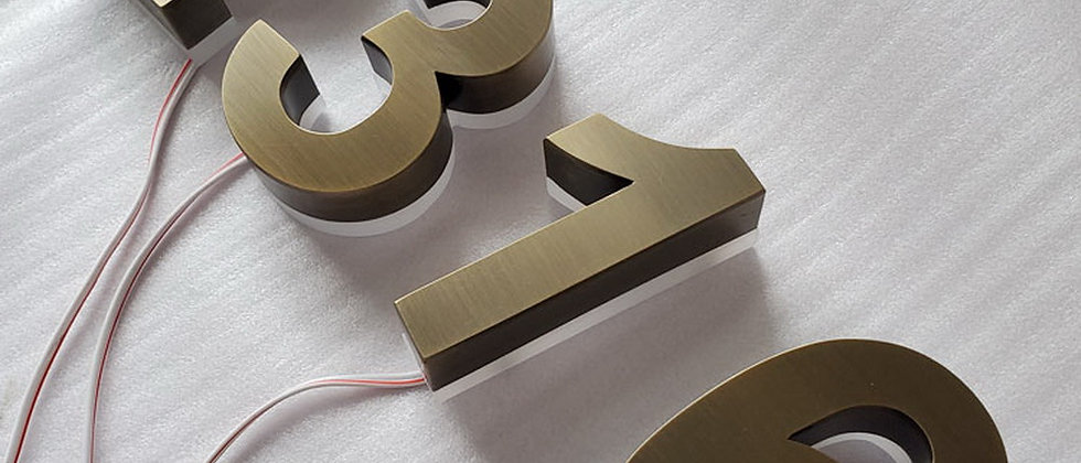 Wholesale silver brushed reverse-lit painted stainless steel led channel letter
