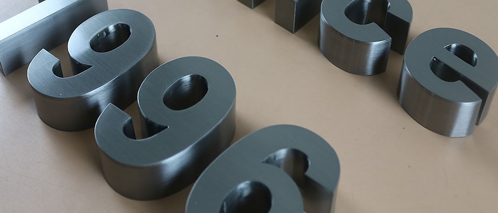 Custom-made 3D brushed stainless steel letters raised metal letter signs
