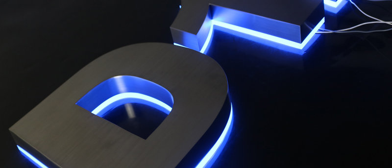Modern fashion backlit blue light stainless steel luminous letters house numbers