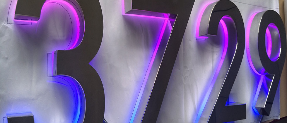 Changeable letter signs height brushed stainless steel backlit house numbers