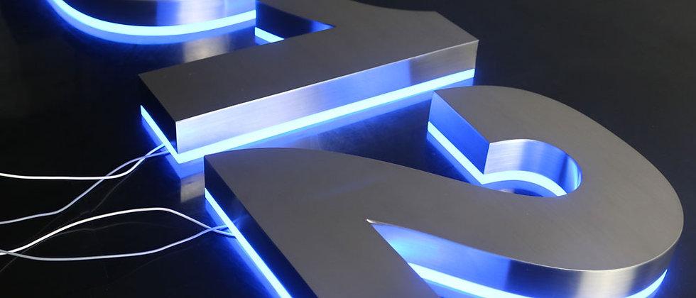Modern Blue light halo lit metal letters SUS acrylic back shopfront house numbes