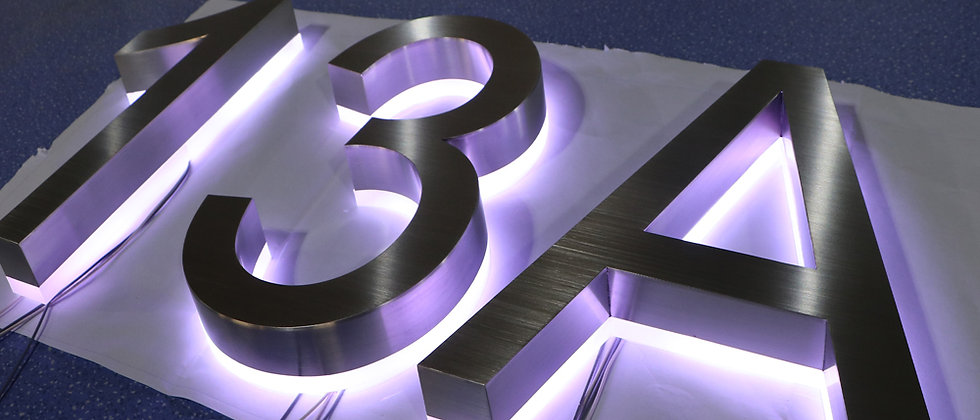 LED letter signs with stainless steel frame purple halo light letter door number