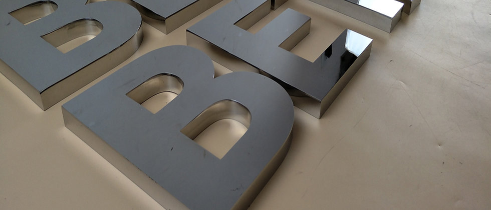 3D mirror stainless steel alphabet channel letters flat metal letters sign