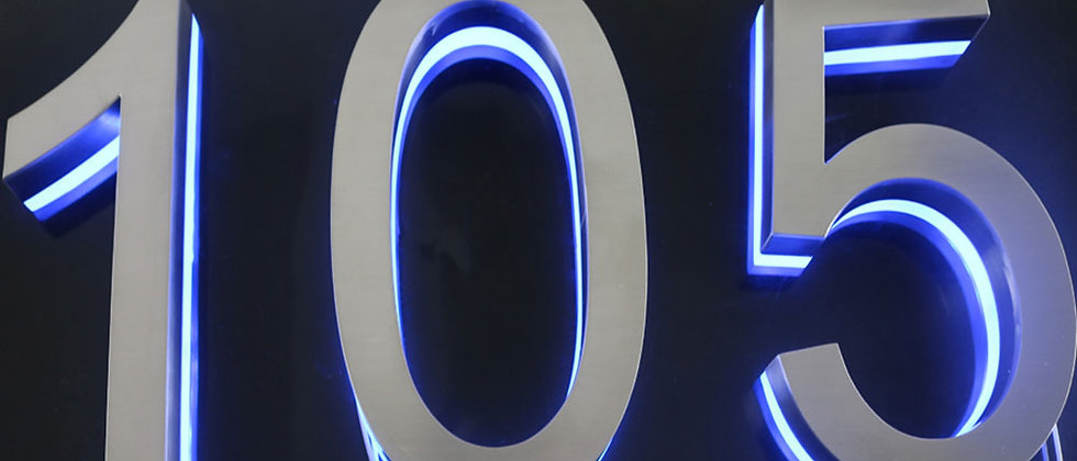 Promotional Brushed stainless steel backlit letter metal letter with blue lights